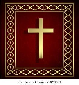 vintage golden cross and frame on red background. vector illustration