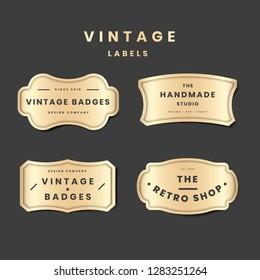 Vintage golden logo set on the black background