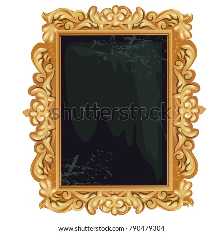 8e36022e0762 Vintage golden ornate florid frame with blank space for your text or  portrait isolated on white background. Vector cartoon close-up  illustration. - Vector