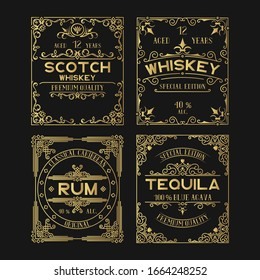 Vintage golden ornate labels set with lettering for pub. Hand drawn premium gold alcohol frames for tequila, rum, scotch, whiskey bottles in drink bar.
