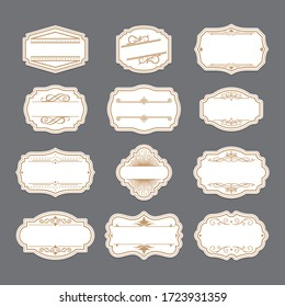 Vintage golden ornate labels set. Retro decorative frames, wedding invitation template, swirled borders. Can be used for traditional ornament, sale stickers, advertising design
