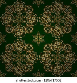 Vintage golden seamless pattern, golden floral ornament brocade textile pattern, glass pattern, gold metal with floral elements on green background.