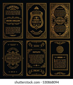 Vintage golden vector set retro cards. Template greeting card wedding invitation. Line calligraphic frames. Floral engraving design labels advertising place for text. Flourishes frame background