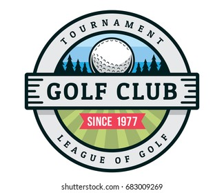 Vintage Golf Badge Logo Illustration