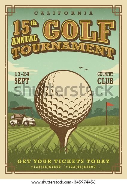 Vintage golf poster with a golf ball, golf car and flag on the golf lawn with text. Tournament theme.
