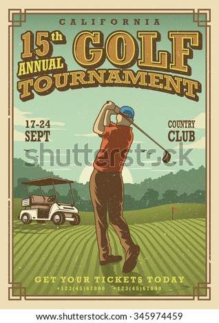 Vintage golf poster with a golf player, golf car and flag on the golf lawn with text. Tournament theme.