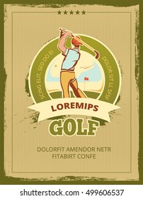Vintage golf tournament vector poster. Banner for sport competition tournament illustration
