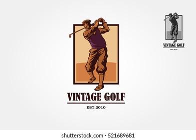 Vintage Golf Vector Logo Template. Vintage logo illustration with a man golf player.
