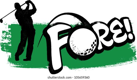 Vintage Golfer Swinging and Saying Fore!