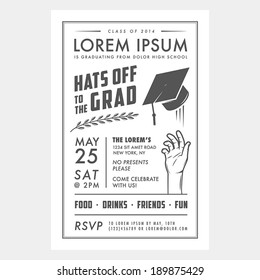 Vintage graduation party invitation card