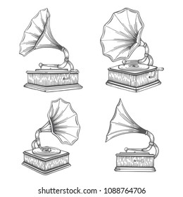 Vintage gramophone and hand drawn illustrations set. Old gramophones in different views isolated on white background. Retro music concept. Gramophones sketch.