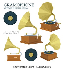 Vintage gramophone and vinyl records illustrations set. Realistic flat style gramophone and vinyl records icons. Old gramophones in different views isolated on white background. Retro music concept.