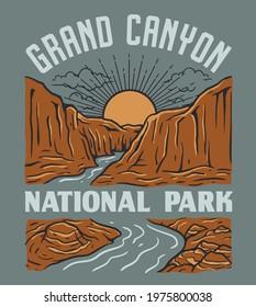 Vintage Grand Canyon National Park Illustration Design. Landscape with mountains and river