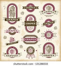 Vintage grapes labels set. Fully editable EPS10 vector.
