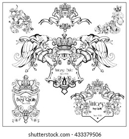 Vintage graphic decorative heraldic cartouche set. Graphic hand-drawn illustration.