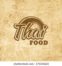 Vintage graphic element for thai menu on grunge old paper