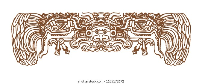Vintage graphic maya glyphs, inca and aztec zodiac ornaments and symbols in old american indian style.Vector illustration and doodle drawing for design.