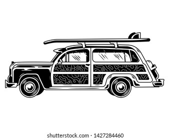 Vintage graphic old school car for freedom traveling on beach surfing style life camping outside Retro custom car drawing hippie illustration for print design t shirt clothes logo icon poster sticker
