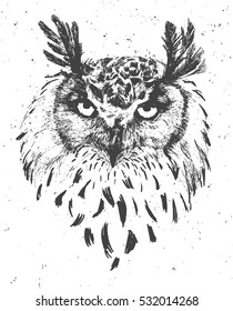 Vintage graphic owl face ink vector print