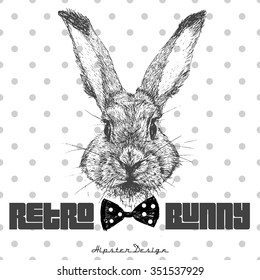 Vintage graphic with rabbit head and slogan in vector