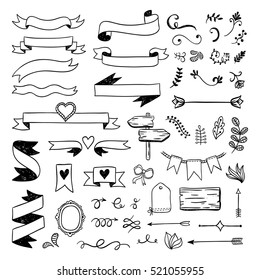Vintage graphic set. Hand drawn elements, arrows, ribbons and curls
