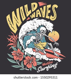 Vintage graphic of a surfing skeleton with hibiscus flowers