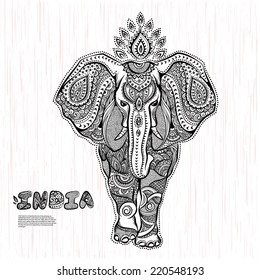 Vintage graphic vector Indian lotus ethnic elephant pattern. African tribal ornament. Can be used for a coloring book, textile, prints, phone case, greeting card, business card