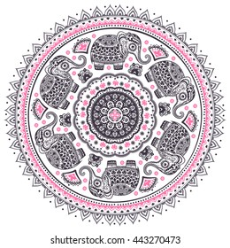 Vintage graphic vector Indian lotus cute ethnic elephant mandala pattern. African tribal ornament. Can be used for a coloring book, textile, prints, phone case, greeting card, business card
