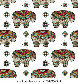 Vintage graphic vector Indian lotus ethnic elephant. African tribal ornament. Can be used for a coloring book, textile, prints, phone case, greeting card. Illustration for your web design.