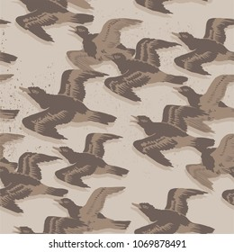 Vintage graphic vector seamless pattern Japanese style fling ducks with loft background. for wallpaper, poster, postcard or greeting card, book cover, packaging  paper, textile, carpet and fabric