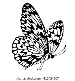 Vintage graphical butterfly ornamental pattern. Vector.