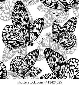 Vintage graphical butterfly ornamental seamless pattern. Vector.