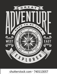 Vintage Great Adventure Typography On Black Background. T-shirt and label graphics in woodcut style. Editable vector illustration.