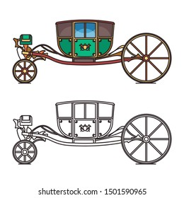 Vintage green chariot for fairytale princess or cartoon carriage for king, queen. Contour of old cab or outline of retro stagecoach. Isolated dormeuse or medieval clarence, royal clarence. Vehicle