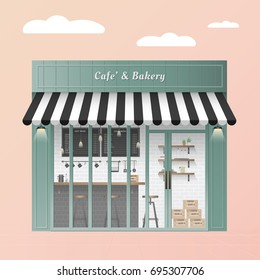 Vintage green pastel Coffee Shop cafe and bakery Exterior on pink background for cover or website