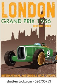 vintage green race car for london printing.vector old school poster.