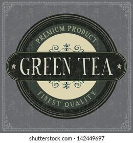 Vintage Green Tea Label. Grunge style