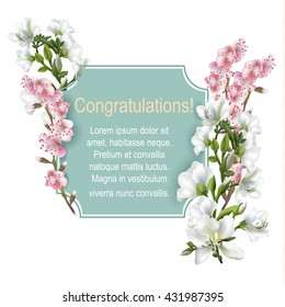 Vintage greeting card with blooming flowers, 'Congratulations' wording and place for your text. Vector illustration