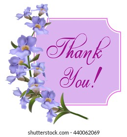 Vintage greeting card with blooming flowers, 'Thank You' wording and place for your text. Vector illustration