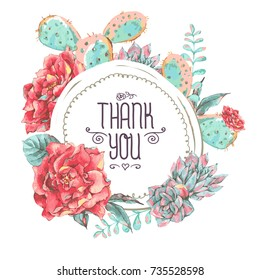 Vintage greeting card with blooming flowers. Thank you with place for your text. Roses, wildflowers, cactus, succulent vector illustration