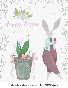 Vintage greeting card with bunny characters and design elements for the Easter holiday. Easter bunny, eggs, flowers, basket, spring tree, butterflies. Vector illustration in watercolor style