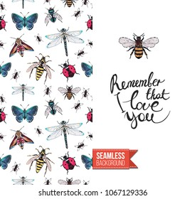 Vintage greeting card with fashion rhinestones or stitched fabric embroidery insects. Decorated by seamless pattern background with embroidered insect bug. Slogan: remember that i love you.