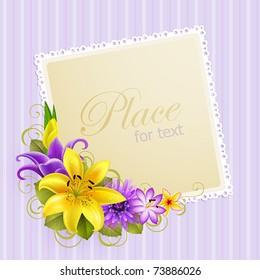 vintage greeting card with flowers and place for text