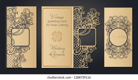 Vintage greeting card for laser cutting. Openwork pattern for a wedding, a romantic party in the Baroque style, Gatsby.