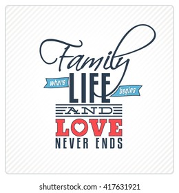 Vintage Greeting Card with a Quote about Family and Love