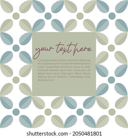 Vintage greeting card template design with floral pattern