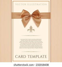 Vintage greeting card template with golden bow and a ribbon. Invitation. Vector illustration