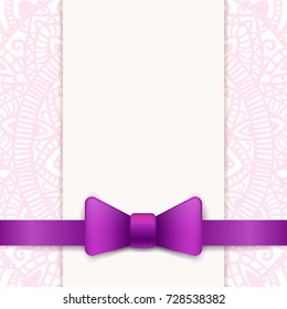 Vintage greeting card template with violet bow and ribbon. Vector wedding invitation design. Anniversary template design for any celebration. Marriage, birthday, christmas, baby shower flyer.