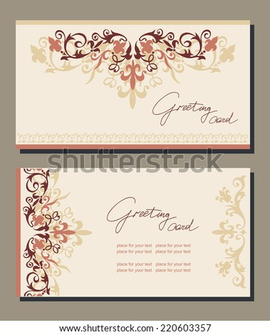 Vintage greeting cards swirls floral motifs stock vector royalty vintage greeting cards with swirls and floral motifs in retro style template frame design for m4hsunfo