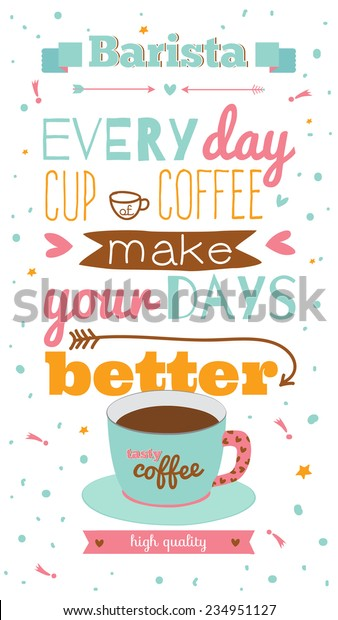 vintage greeting coffee illustration card inspirational stock